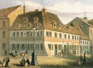 Robert Schumann - Schumann's birth house, now the Robert Schumann House, after an anonymous colourized lithograph