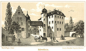 Ernst von Bibra - Castle at Schwebheim in 1870 engraving