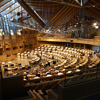 Politics of Scotland - The debating chamber of the Scottish Parliament Building.