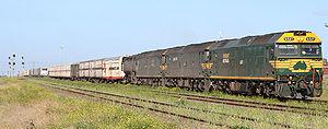 SCT Logistics - Freight Australia G class locomotives hauling a Melbourne bound service near Geelong in September 2006
