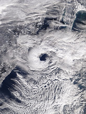 Cyclone - A polar low over the Sea of Japan in December 2009