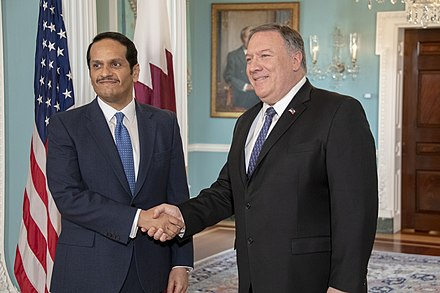 Deputy Prime Minister and Minister of Foreign Affairs Mohammed bin Abdulrahman bin Jassim Al Thani with U.S. Secretary of State Mike Pompeo in 2019. Secretary Pompeo Meets With Qatari Minister of Foreign Affairs Sheikh Mohammed bin Abdulrahman Al Thani (40723423453).jpg