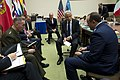 Secretary of Defense Chuck Hagel meets with Air Force General Philip Breedlove and General Joseph Dunford.jpg