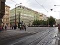 Senovážné náměstí před průvodem tramvají, od Jindřišské.jpg