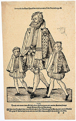 Servant walking two boys