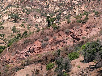 Sespe Formation - Typical outcrop of the Sespe Formation, north of Santa Barbara, California. The red rocks in the center are Sespe; lighter-colored rocks on the mountainside in the background are the Coldwater Formation.