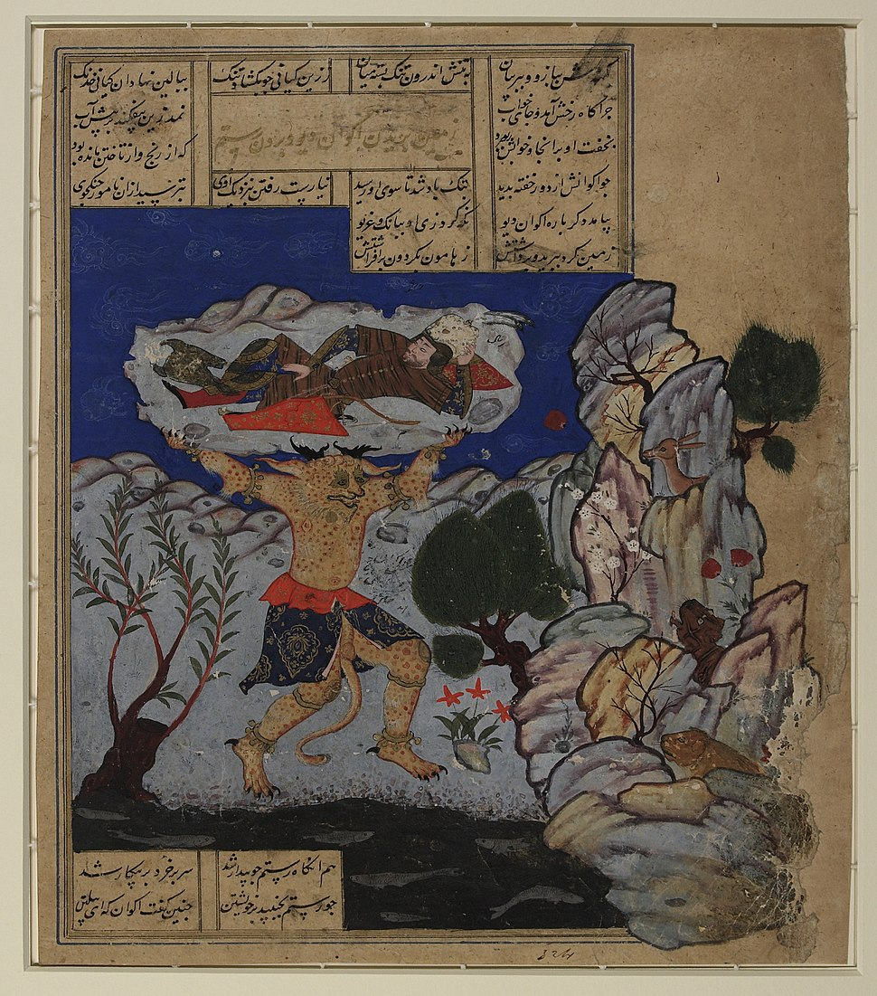 Shahnameh - The Div Akvan throws Rustam into the sea
