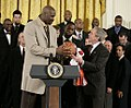 Shaq gives ball to Bush 2007.jpg