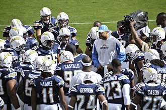 2008 San Diego Chargers season - Shawne Merriman participates in the Chargers' pregame huddle at Kansas City, week 10