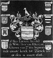 Wapenbord met het wapen van Laurens Jacobsz de Witte en zijn acht kwartieren