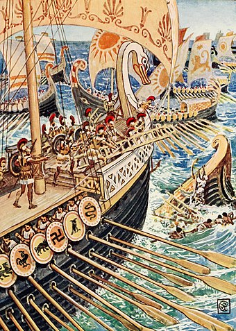 Greek ships against Achaemenid ships at the Battle of Salamis. Ship dashed against ship, till the Persian Army dead strewed the deep like flowers.jpg