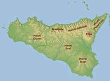 I gruppi montuosi in Sicilia.