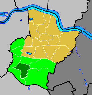 Sidcup - Sidcup ward (dark green) in the Old Bexley and Sidcup constituency (light green) within the London Borough of Bexley (yellow)