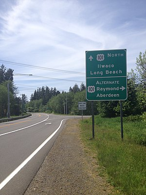 U.S. Route 101 in Washington - Sign for Alternate US 101 near Long Beach, Washington