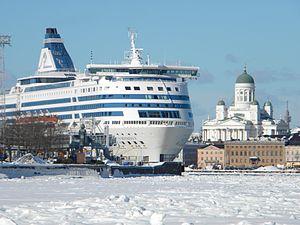 Silja Symphony and icy sea lane South Harbor Helsinki Finland.jpg