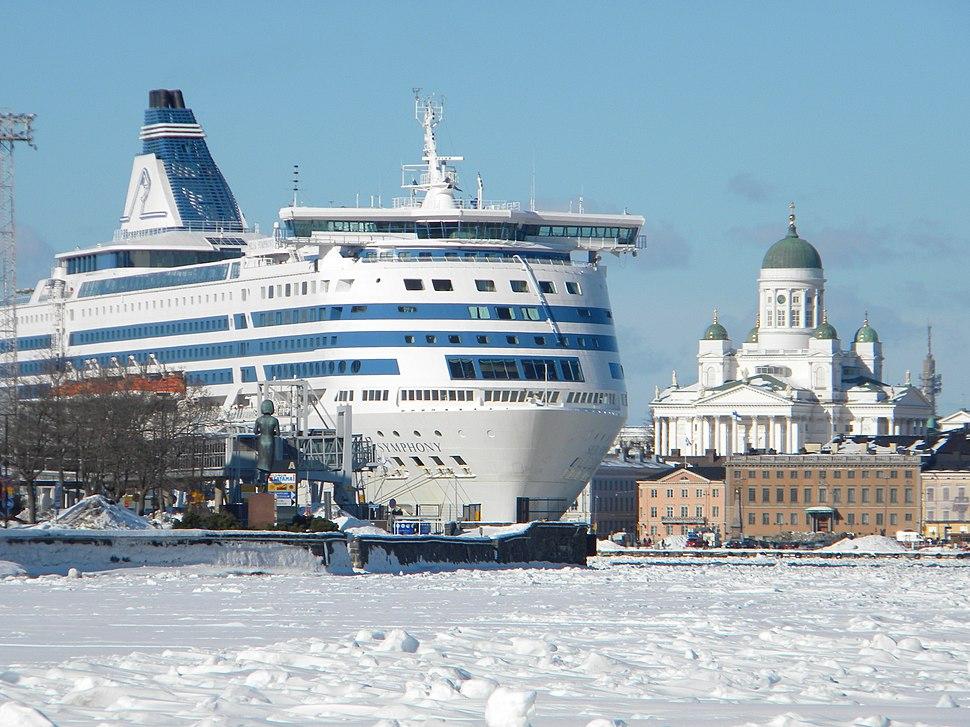 Silja Symphony and icy sea lane South Harbor Helsinki Finland