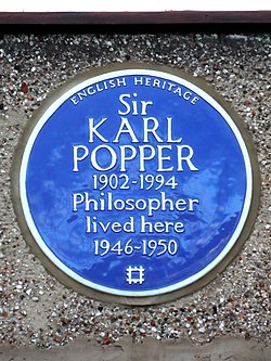 Sir karl popper 1902 1994 philosopher lived here 1946 1950