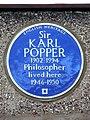 Sir KARL POPPER 1902-1994 Philosopher lived here 1946-1950.jpg
