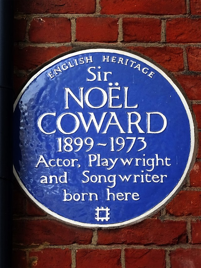 Noël Coward blue plaque - Sir  Noël Coward  1899-1973  Actor, Playwright  and Songwriter  born here