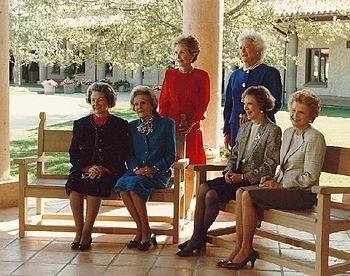 English: First Ladies Lady Bird Johnson, Pat N...