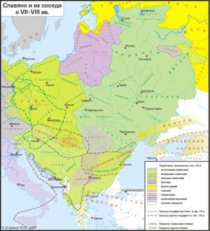Galindians - Europe in 7-8th century - Baltic tribes are shown in dark purple, Eastern Galindians can be seen within the Slavic territory.