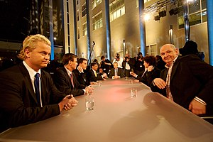 Party for Freedom - Geert Wilders (left) with other politicians at the final television debate before the Dutch general election, 2006