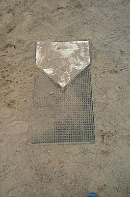The target normally used in slow pitch softball. In some forms of slow pitch, the pitched ball must hit the black carpet behind the base to count as a strike SlowpitchTarget.jpg