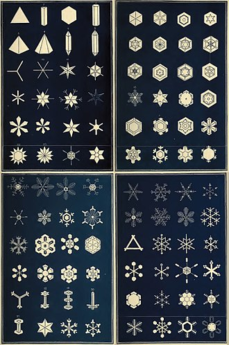 Snow - An early classification of snowflakes by Israel Perkins Warren