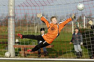 Goal keeper in action. (Youth game in Germany).