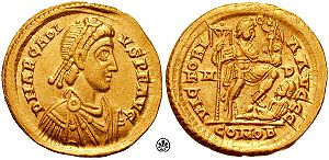 Mediolanum - Arcadius solidus, from the Mediolanum mint, c 395-408.