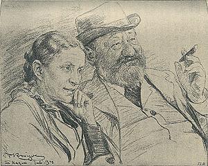Sophus Schandorph - Sophus Schandorph and wife. Drawing by P.S. Krøyer from 1894.
