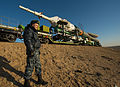 Soyuz TMA-08M spacecraft roll out by train 3.jpg