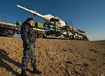 Soyuz TMA-08M spacecraft roll out by train 3.jpg