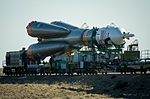 Soyuz TMA-09M spacecraft roll out by train 4.jpg
