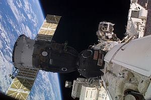 Expedition 7 - Soyuz TMA-2 spacecraft, docked to the functional cargo block (FGB) nadir port on the International Space Station. (NASA)