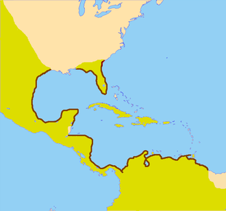 Spanish Main - The Spanish Main, coastline outlined in maroon. Spanish possessions are highlighted in yellow.