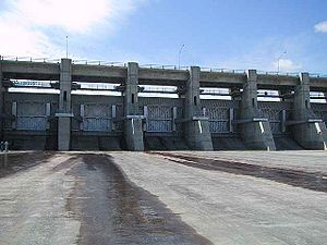 Gardiner Dam - Spillway gates of Gardiner Dam