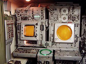 P-12 radar - P-12 radar indicators, E-scope left and plan position indicator right
