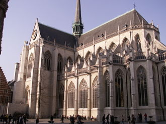 St. Peter's Church, Leuven - Chancel and south transept, viewed from the market square