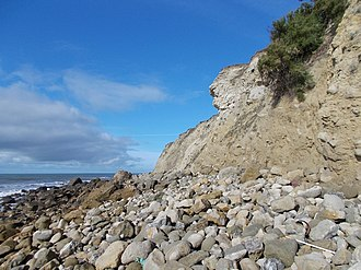 St Catherine's Point - The beach directly below the lighthouse. Erosion threatens the southern wall of the lighthouse compound (2017).