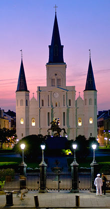 St Louis Cathedral New Orleans from Jackson Square at dusk - skinny view.jpg