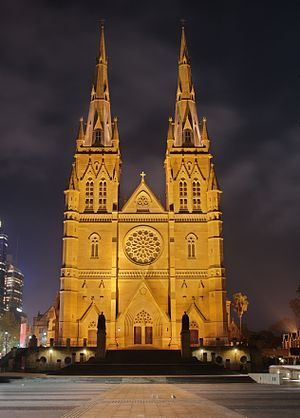 Roman Catholic Archdiocese of Sydney - St Mary's Cathedral, Sydney; front, facing south.