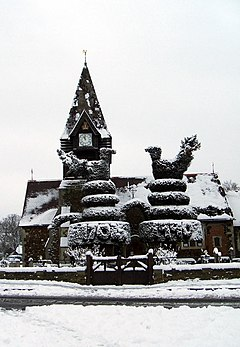 St Mary the Virgin, East Bedfont in Winter snow. - geograph.org.uk - 1157283.jpg