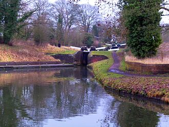 Stourton, Staffordshire - Stourton Junction: the Stourbridge Canal descends through locks to meet the Staffordshire and Worcestershire.