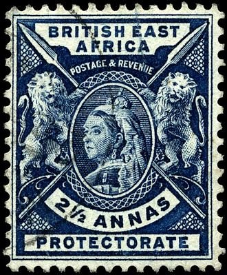 Postage stamps and postal history of British East Africa - Image: Stamp British East Africa 1896 2.5a