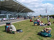 The lawn in front of Stansted Airport, which has now been paved