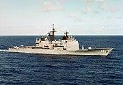 Starboard bow view of USS Yorktown (CG-48) underway in Caribbean c1985