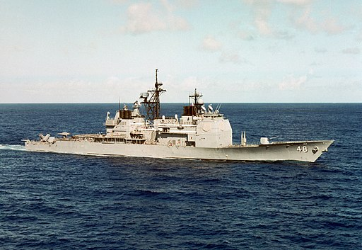 Starboard bow view of USS Yorktown (CG-48) underway in Caribbean c1985