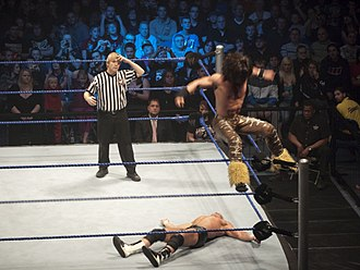 Moonsault - John Morrison performing Starship Pain (split-legged corkscrew moonsault) on Dolph Ziggler.