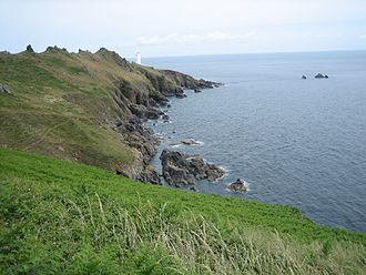 Start Point, Devon - View east, including Start Point Lighthouse in mid-picture.